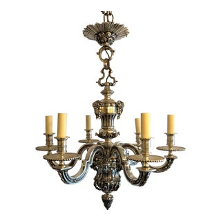 Antique French Louis XIV Style Silver on Bronze Chandelier For Sale