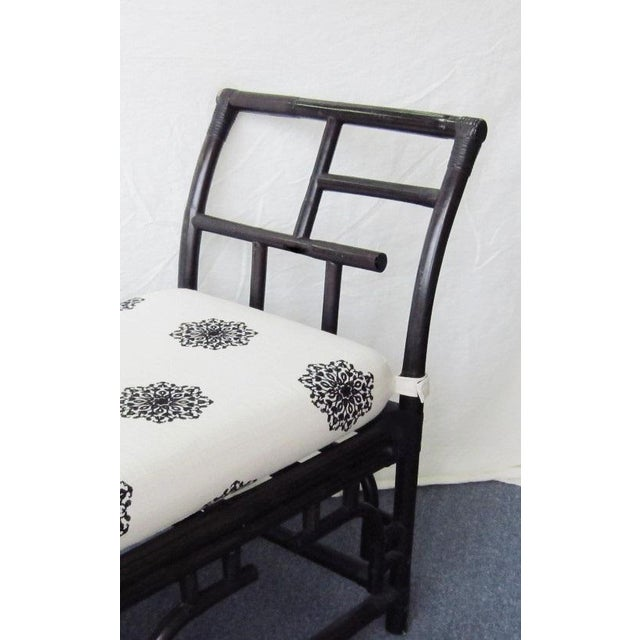 Bamboo & Rattan Chinese Chippendale Bench For Sale - Image 4 of 7