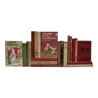 Vintage Stories for Boys in Red & Green, S/20 For Sale