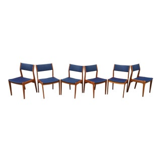 1970s Vintage Danish Modern Regal Blue Teak Dining Chairs- Set of 6 For Sale