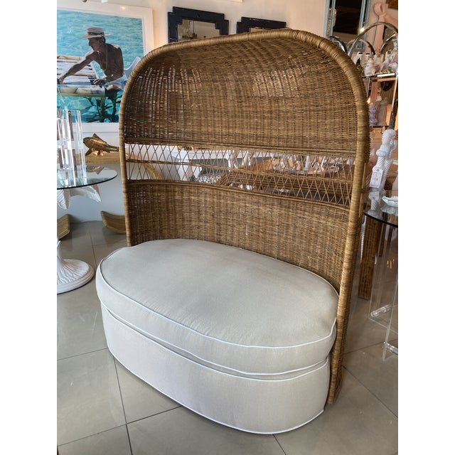 Vintage Wicker and Rattan Newly Upholstered Dome Hooded Loveseat Settee Chair For Sale - Image 13 of 13