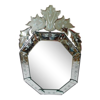 Fabulous Italian Venetian Octagonal Glass Vintage Mirror For Sale