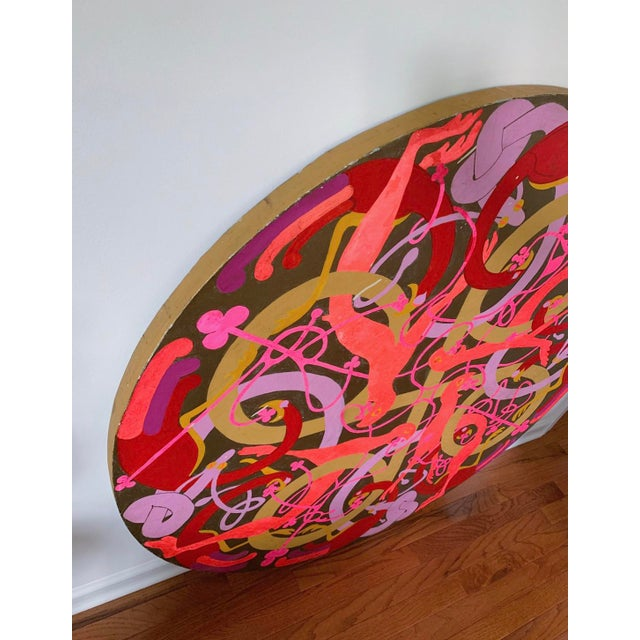 1970s Vintage Large Round Psychedelic Bird and Snake Painting For Sale - Image 5 of 8