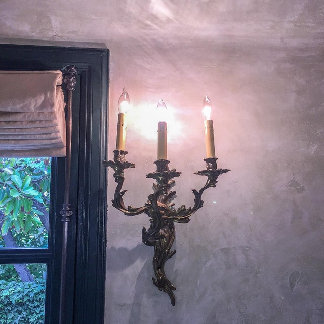French Bronzed & Crystal Wall Sconces - A Pair - Image 4 of 5