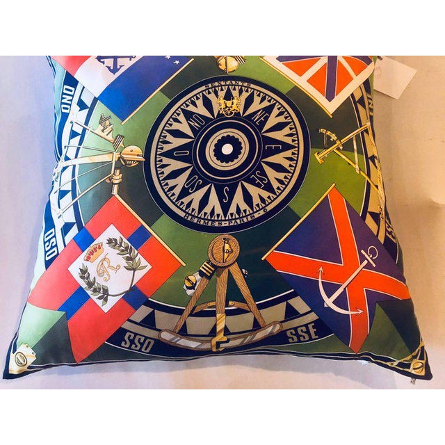 Blue Enormous Hollywood Regency Style Hermes 'Sextants' Silk Stuffed Pillow For Sale - Image 8 of 12