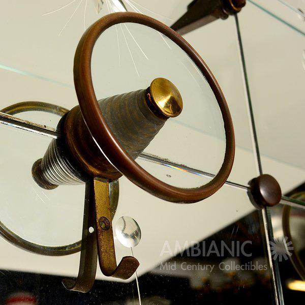 Italian Full Length Mirror with Shelf & Hooks After Fontana Arte For Sale - Image 9 of 11