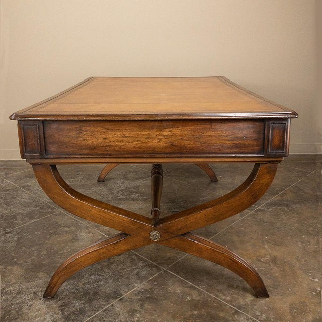 19th Century English Mahogany Leather Top Desk For Sale In Dallas - Image 6 of 13