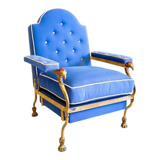 Blue Cast Iron Fauteuil With Bird Motif For Sale