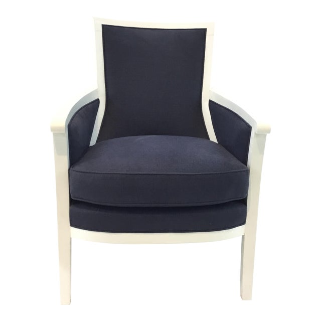 Transitional Navy and White Hickory Chair Breck Chair For Sale