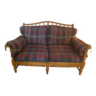 Ethan Allen Traditional Collection Plaid Wood Frame Couch Set For Sale