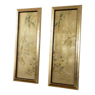 Pair LaBarge Chinoiserie Framed Panels J. Jacobusse Hand Painted Eglomise