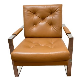 Mid-Century Modern Milo Baughman for Thayer Coggin Caramel Brown Leather With Polished Chrome Frame Lounge Chair For Sale