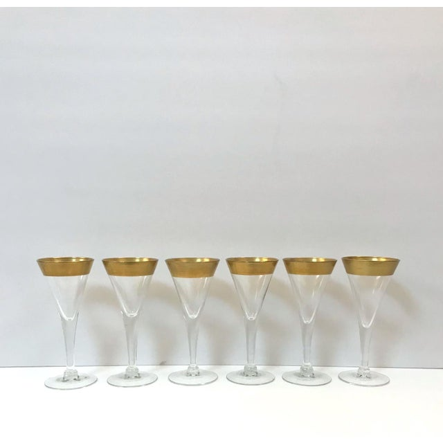 Set of Six Crystal Gold Rim Cordial Glasses by Dorothy Thorpe For Sale - Image 12 of 13