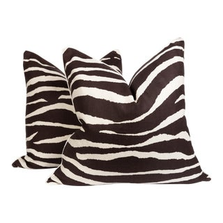 Chocolate and Ivory Linen Zebra Pillows, a Pair For Sale