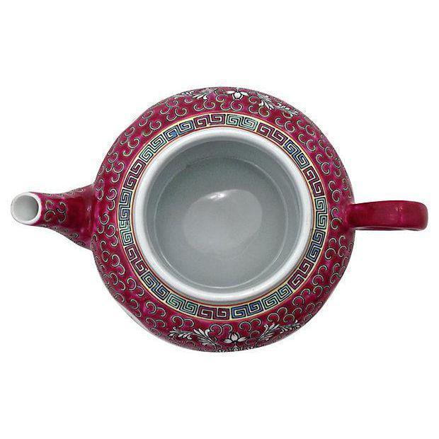 MunShou Red Porcelain Tea Pot - Image 5 of 6