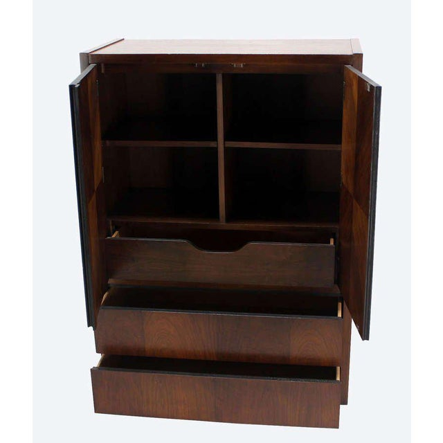 Lacquer Mid-Century Modern Walnut Gentlemen's High Chest Chifferobe Armoire For Sale - Image 7 of 10