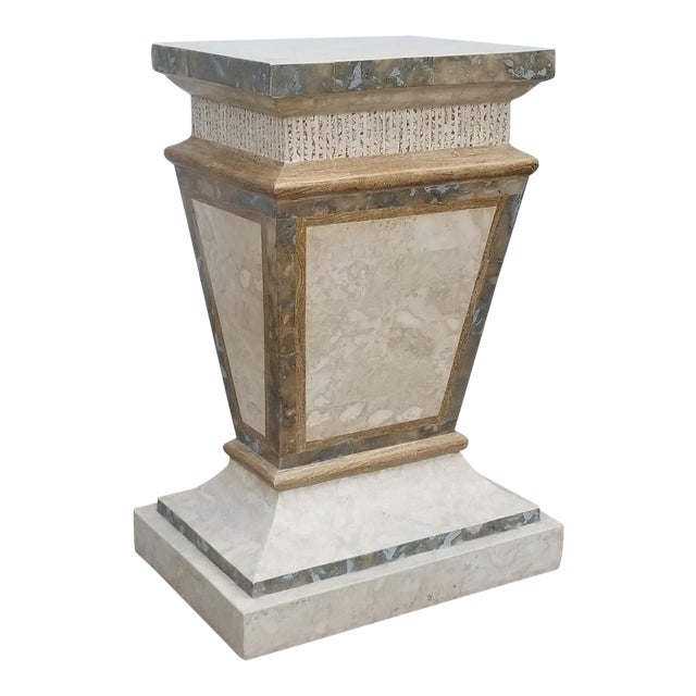 1980s Vintage Maitland Smith Tessellated Stone Pedestal For Sale