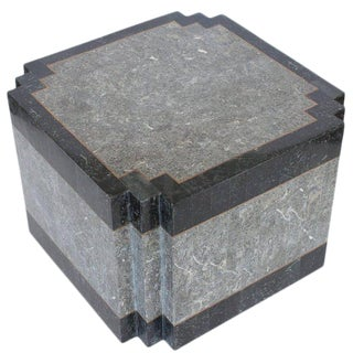 Maitland-Smith Tessellated Stone and Brass Side or End Table For Sale