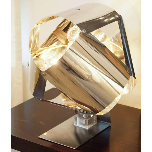 Chromed Metal Sculptural Table Lamp - Image 10 of 11