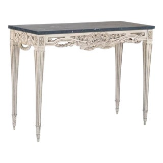 Hand Carved Black Marble Top Console For Sale