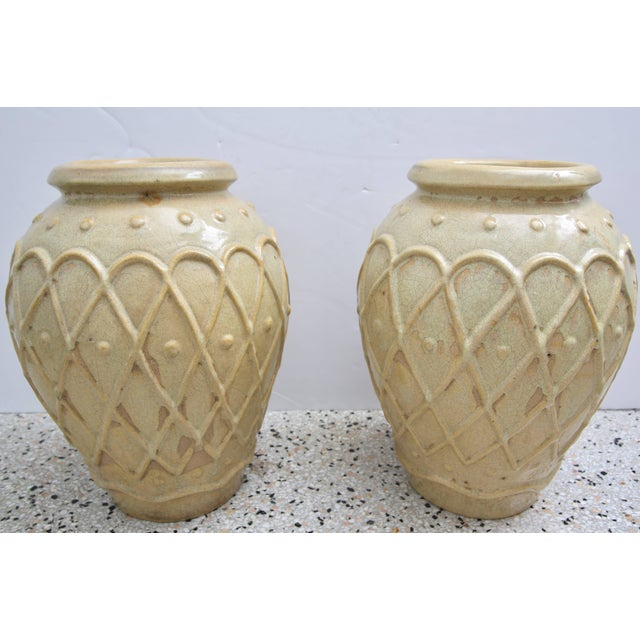 Tan American Art Deco Glazed Pottery Urns Planters Cache Pot by Galloway - a Pair For Sale - Image 8 of 10