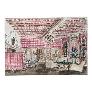 Vintage Traditional Interior Watercolor Painting For Sale