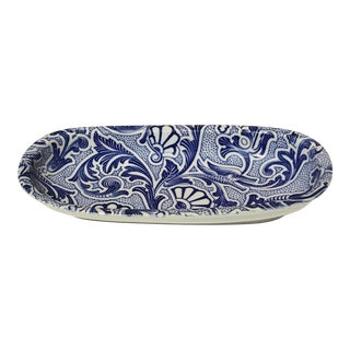 Vintage English Blue and White Porcelain Dish For Sale