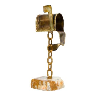 Marble and Brass Mailbox Sculpture