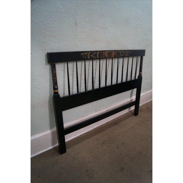 Early American Hitchcock Black Painted Stenciled Full Size Headboard For Sale - Image 3 of 10