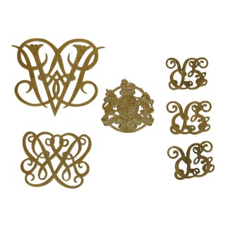 Set of 6 Virginia Metalcrafters Brass Trivets For Sale