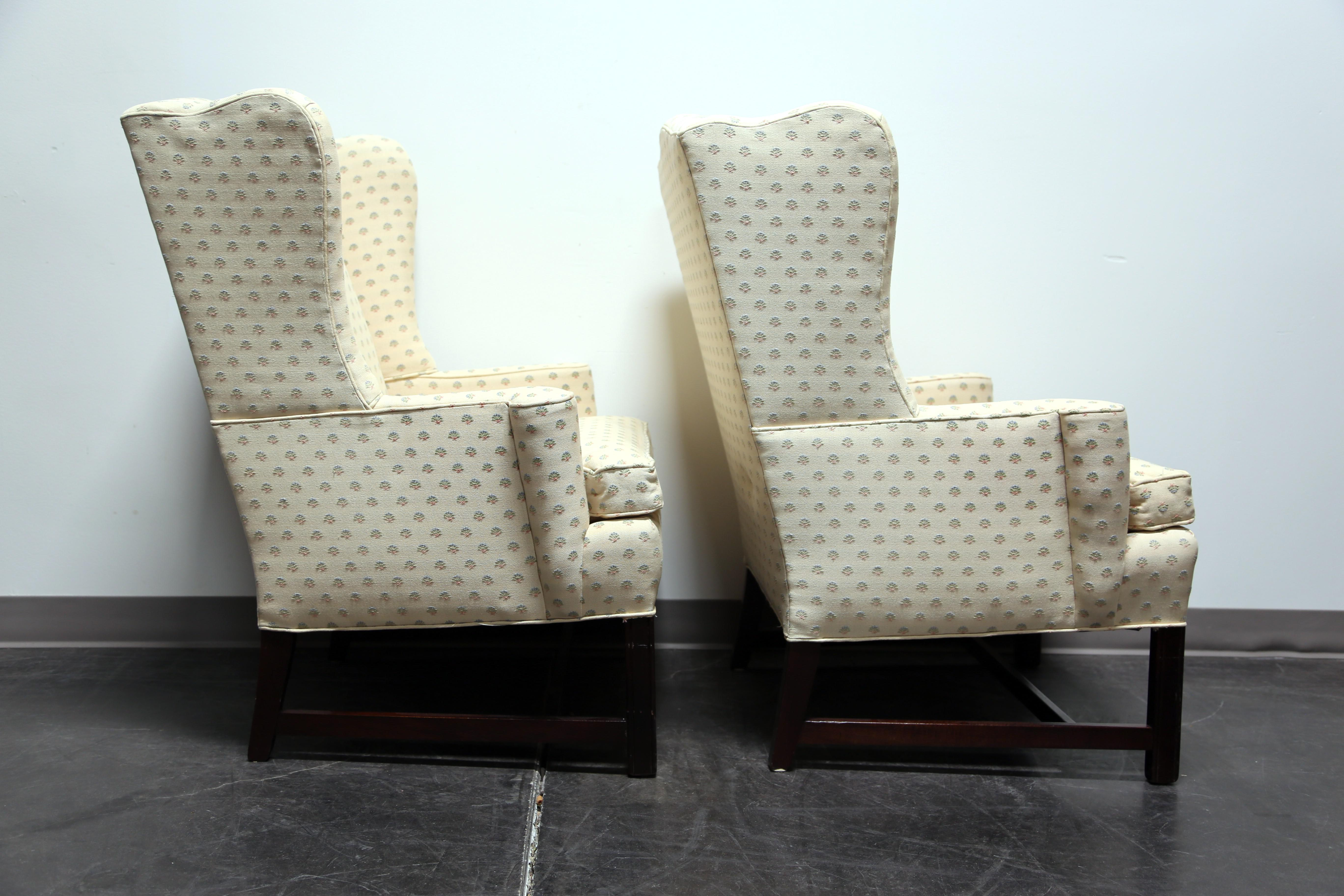 Beautiful Chippendale Style Mahogany Wing Back Chairs By Conover Chair Co   Pair    Image 4 Of