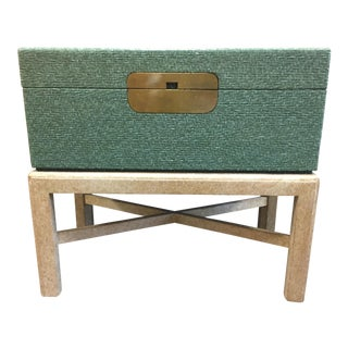 Vintage Green Trunk on Stand For Sale