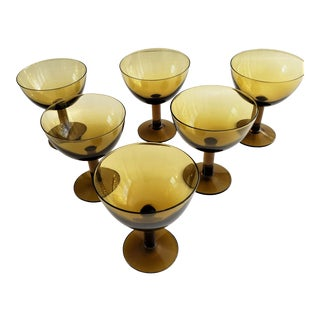 6 Mid-Century Glass Champagne/Cordial Glasses in Style of Russel Wright For Sale