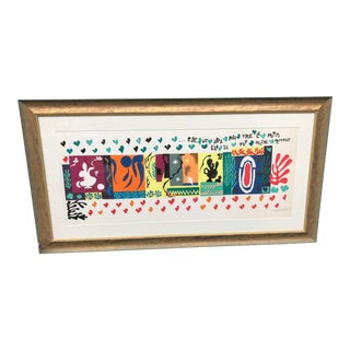 Vintage Mid-Century Framed Matisse Reproduction Lithograph Print