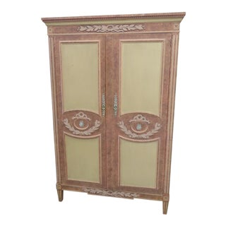 Vintage Mid-Century Baker Neoclassical Style Armoire For Sale