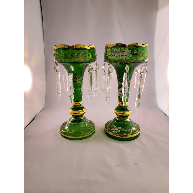 Vintage Green Glass Painted Luster Candle Holders With Prisms - a Pair For Sale - Image 11 of 11