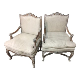 Early 1900's Cerused French Fauteuils - A Pair For Sale