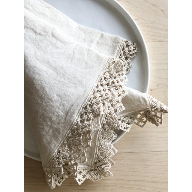 Not Yet Made - Made To Order Once Milano Linen Napkin With Macramé in Cream For Sale - Image 5 of 7