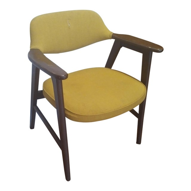 1960s Danish Modern Paoli Yellow Padded Chair For Sale