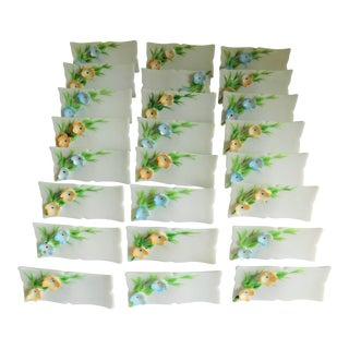 Charming White Floral Porcelain Vintage Place Cards - Set of 24 For Sale