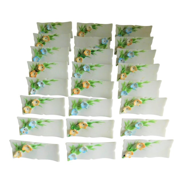 White Porcelain Vintage Place Cards - Set of 24 For Sale