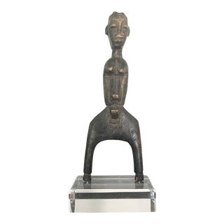 African Vintage Wood Carved Male Slingshot on Custom Lucite Base