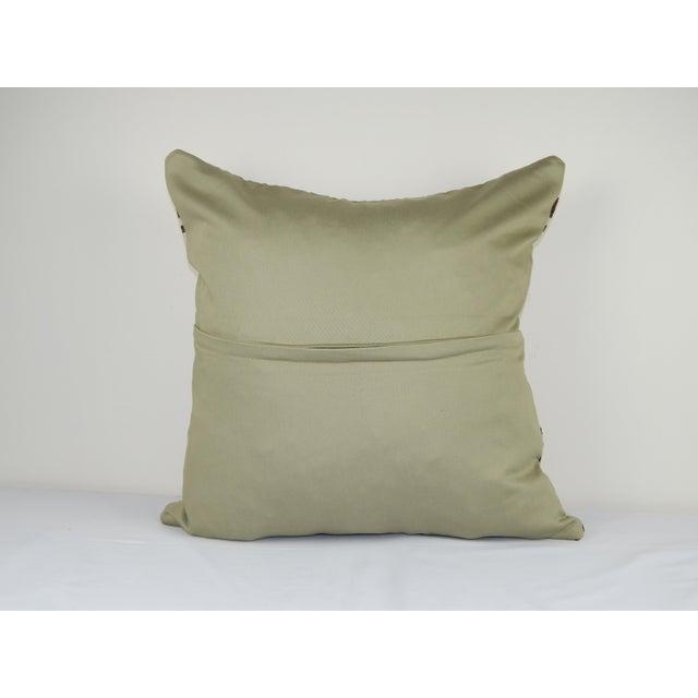 "Vintage Turkish Hemp Kilim Pillow Cover 24"" X 24"" For Sale - Image 4 of 5"