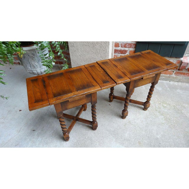 Direct from England, this is a unique, very small English DRAW LEAF TABLE or display stand. English Tiger Oak with ALL the...