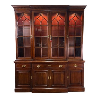 Vintage Statton Furniture Old Towne Cherry Breakfront China Cabinet For Sale