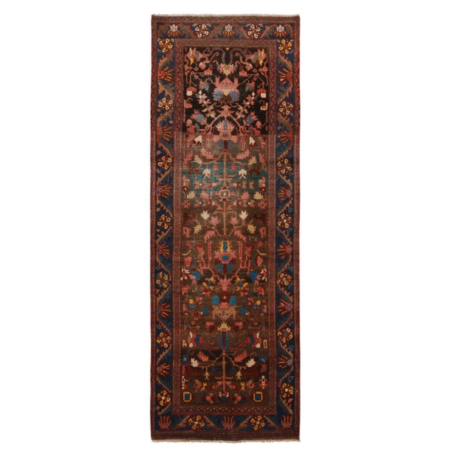 """Textile Vintage Bidjar Brown and Pink Wool Runner Rug With Blue Accents - 2'7"""" x 7'8'"""" For Sale - Image 7 of 7"""