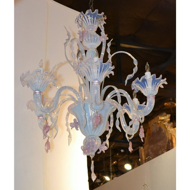Antique Murano Blown Glass Opalescent Chandelier For Sale In Dallas - Image 6 of 9