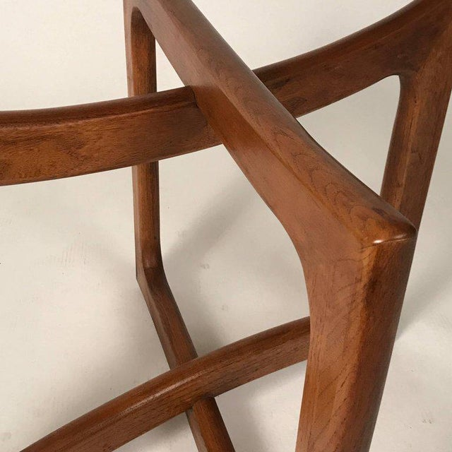 Craft Associates Sculptural Adrian Pearsall for Craft Associates Walnut and Glass Table For Sale - Image 4 of 6