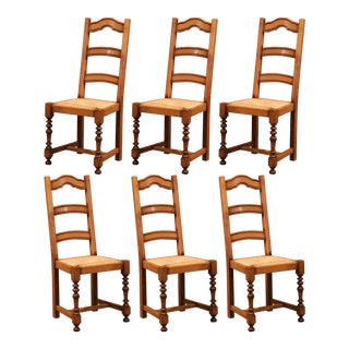 French Carved Oak Ladder Back Chairs With Rush Woven Seat - Set of Six For Sale