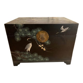 Early 20th Century Antique Asian Hand-Carved Trunk For Sale